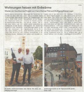 Rundblick Troisdorf: Wohnungen heizen mit Erdwärme. Bericht über ein Geothermie-Projekt von Wolfgang Kievernagel